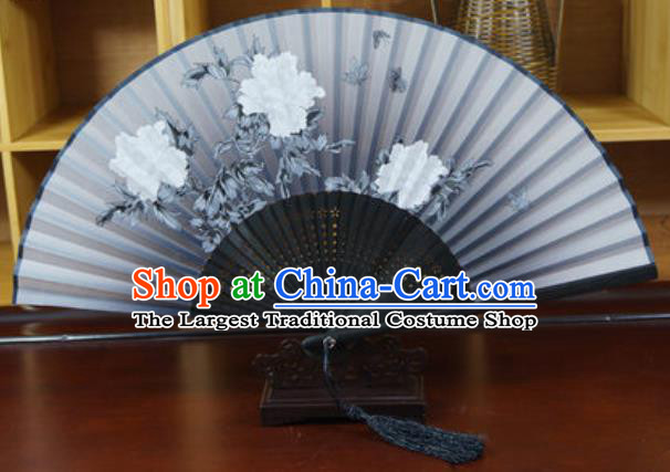 Handmade Chinese Printing Peony Grey Silk Fan Traditional Classical Dance Accordion Fans Folding Fan