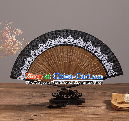 Handmade Chinese Printing White Lace Bamboo Fan Traditional Classical Dance Accordion Fans Folding Fan