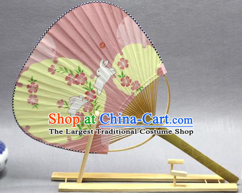 Handmade Chinese Printing Rabbit Pink Paper Fans Traditional Classical Dance Palace Fan for Women