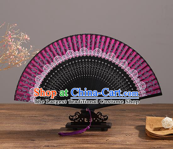 Handmade Chinese Printing Pink Lace Ebony Fan Traditional Classical Dance Accordion Fans Folding Fan