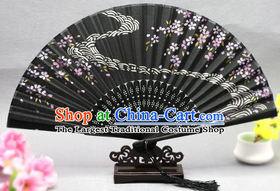 Handmade Chinese Printing Flow Sakura Black Fan Traditional Classical Dance Accordion Fans Folding Fan