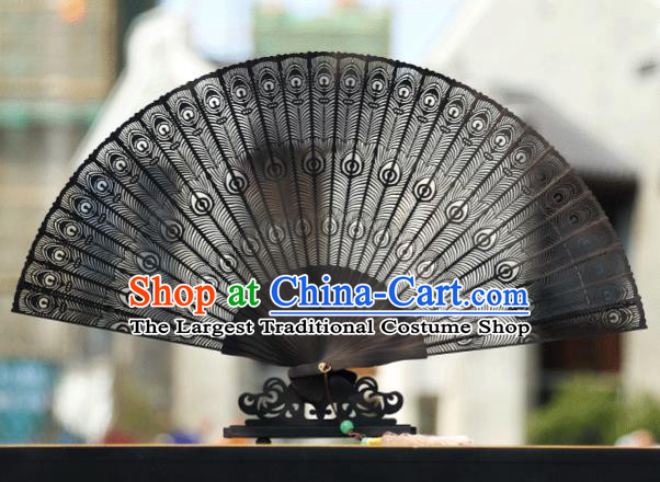 Handmade Chinese Carving Peacock Feather Ebony Fan Traditional Classical Dance Accordion Fans Folding Fan