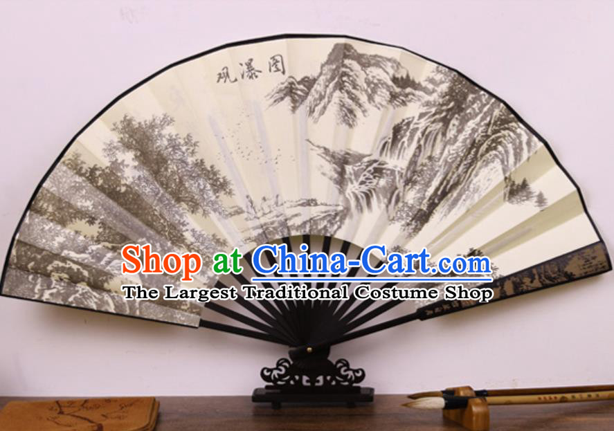 Handmade Chinese Printing Waterfall Bamboo Silk Fan Traditional Classical Dance Accordion Fans Folding Fan