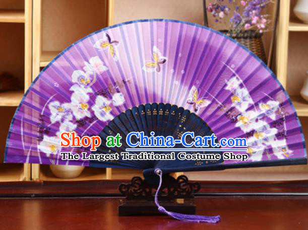 Handmade Chinese Printing Butterfly Purple Silk Fan Traditional Classical Dance Accordion Fans Folding Fan