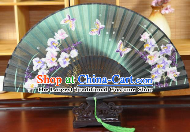 Handmade Chinese Printing Butterfly Green Silk Fan Traditional Classical Dance Accordion Fans Folding Fan