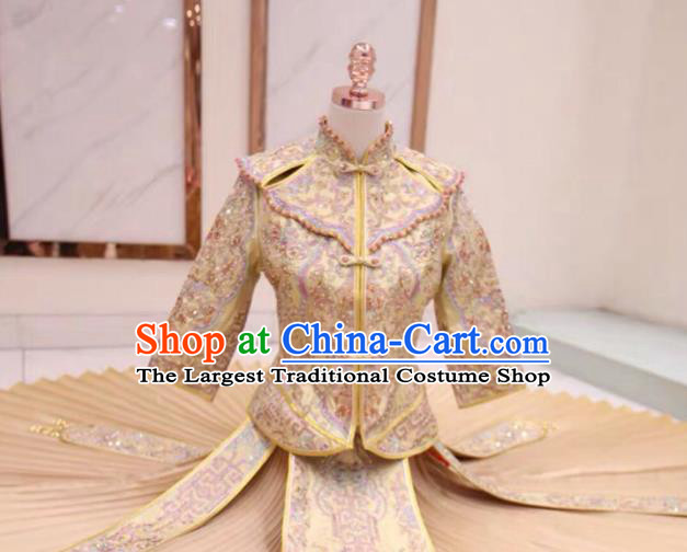 Chinese Traditional Xiu He Suit Embroidered Champagne Dress China Ancient Bride Wedding Costume for Women