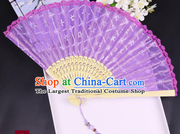 Handmade Chinese Purple Lace Fan Traditional Classical Dance Accordion Fans Folding Fan