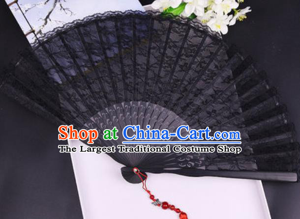 Handmade Chinese Black Lace Fan Traditional Classical Dance Accordion Fans Folding Fan