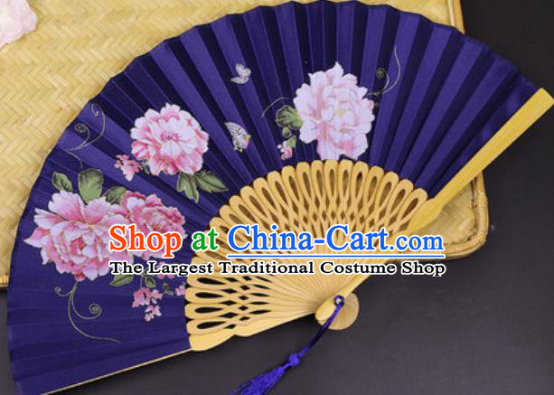 Handmade Chinese Printing Peony Royalblue Silk Fan Traditional Classical Dance Accordion Fans Folding Fan