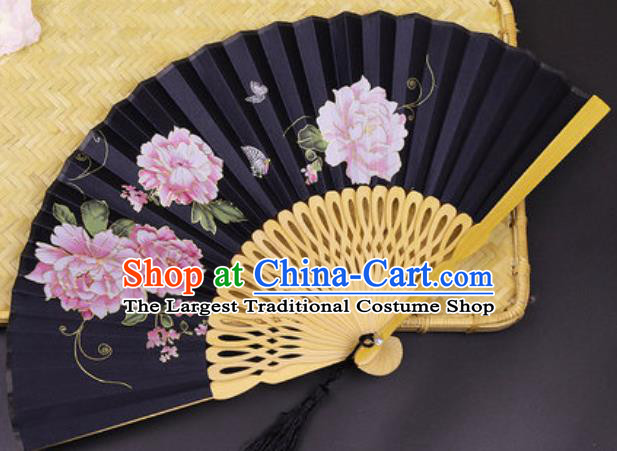 Handmade Chinese Printing Peony Black Silk Fan Traditional Classical Dance Accordion Fans Folding Fan