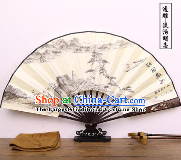 Handmade Chinese Ink Painting Landscape Carving Fan Traditional Classical Dance Accordion Fans Folding Fan