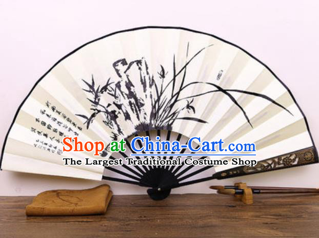 Handmade Chinese Ink Painting Orchids Carving Fan Traditional Classical Dance Accordion Fans Folding Fan
