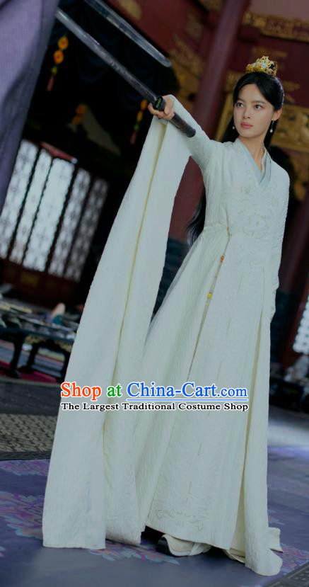 Chinese Ancient Drama Blessed Maiden of Northern Qi Haitang Duoduo Qing Yu Nian Joy of Life Replica Costume and Headpiece Complete Set