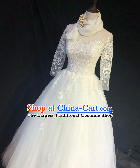 Top Grade Bride Embroidered Lace Wedding Dress Bridal Full Dress Wedding Costume for Women