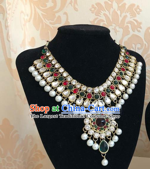 Indian Traditional Wedding Crystal Gems Necklace Asian India Bride Jewelry Accessories for Women