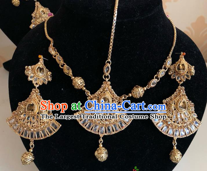 Indian Traditional Wedding Golden Eyebrows Pendant and Earrings Asian India Bride Headwear Jewelry Accessories for Women