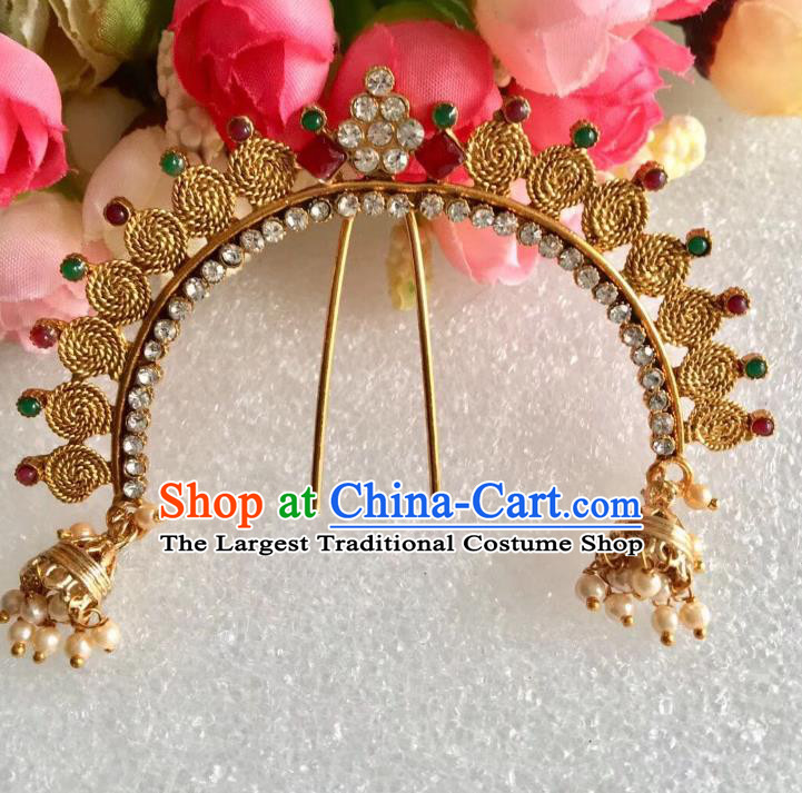 Indian Traditional Wedding Crystal Hairpin Asian India Bride Hair Jewelry Accessories for Women