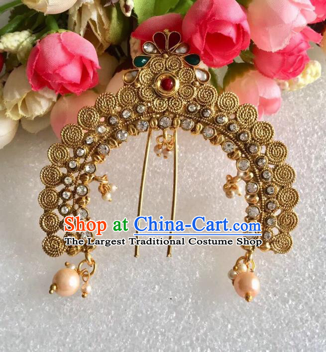 Indian Traditional Wedding Crystal Golden Hairpin Asian India Bride Hair Jewelry Accessories for Women