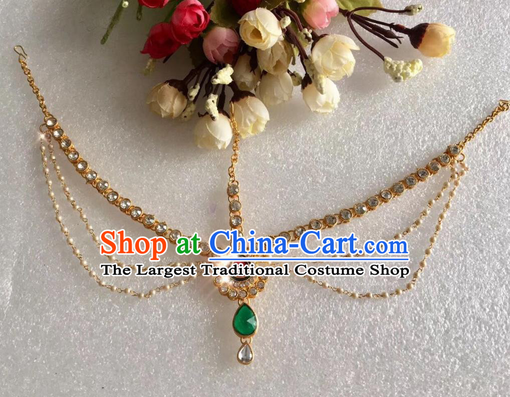 Indian Traditional Wedding Green Crystal Pearls Eyebrows Pendant Asian India Bride Headwear Jewelry Accessories for Women