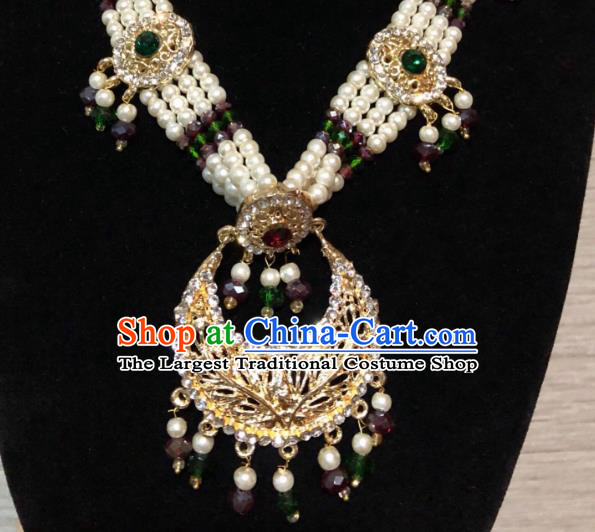 Indian Court Traditional Wedding Crystal Pearls Necklace Asian India Bride Jewelry Accessories for Women