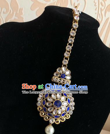 Traditional Indian Wedding Bride Blue Crystal Eyebrows Pendant Asian India Headwear Jewelry Accessories for Women