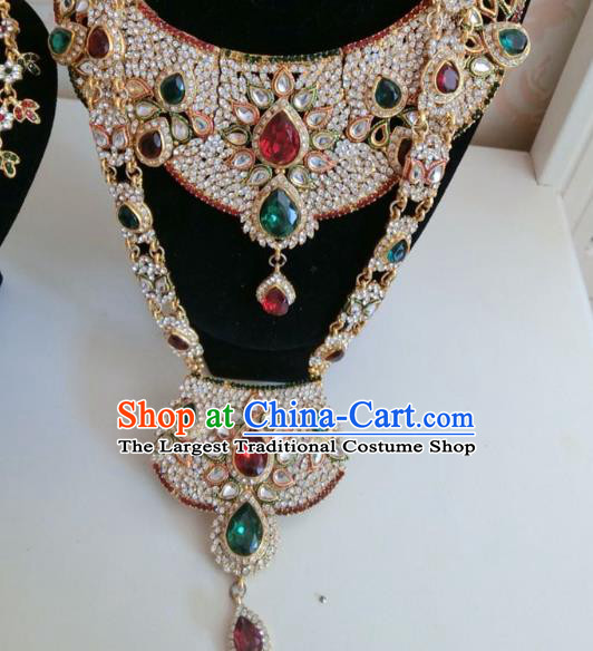 Indian Court Traditional Wedding Luxury Crystal Necklace Asian India Bride Jewelry Accessories for Women
