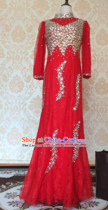 Top Grade Bride Embroidered Red Wedding Dress Bridal Full Dress Wedding Costume for Women