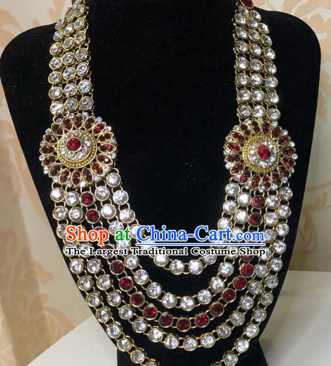Indian Traditional Wedding Luxury Crystal Necklace Asian India Bride Jewelry Accessories for Women