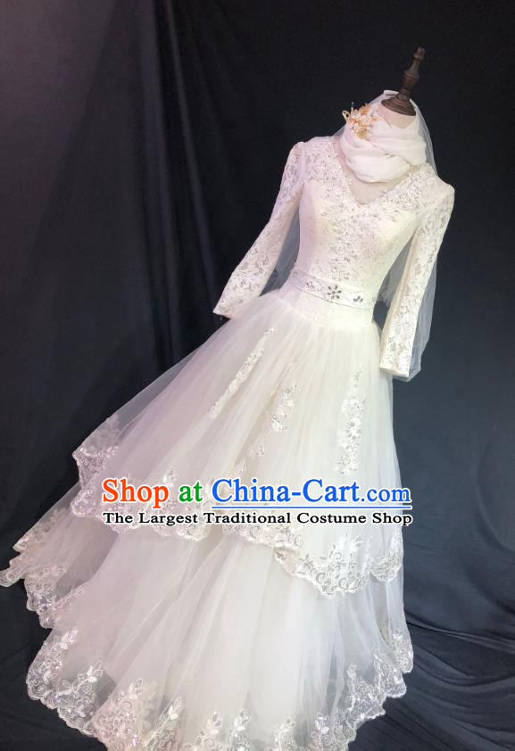 Top Grade Bride Embroidered Wedding Dress Bridal Full Dress Wedding Costume for Women