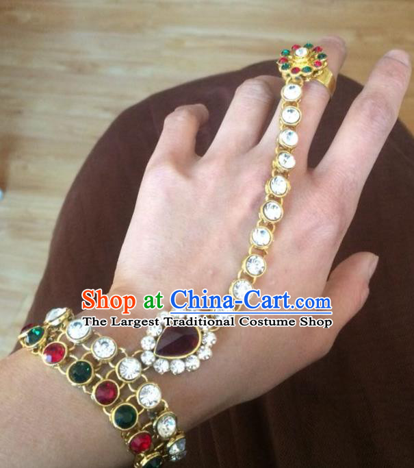 Indian Traditional Wedding Crystal Bracelet with Ring Asian India Court Bride Jewelry Accessories for Women