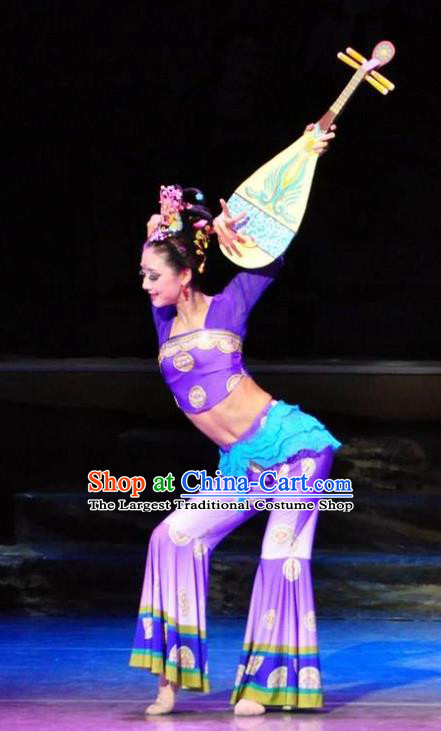 Chinese Traditional Dance Si Lu Hua Yu Flying Apsaras Purple Dress Classical Dance Stage Performance Costume for Women