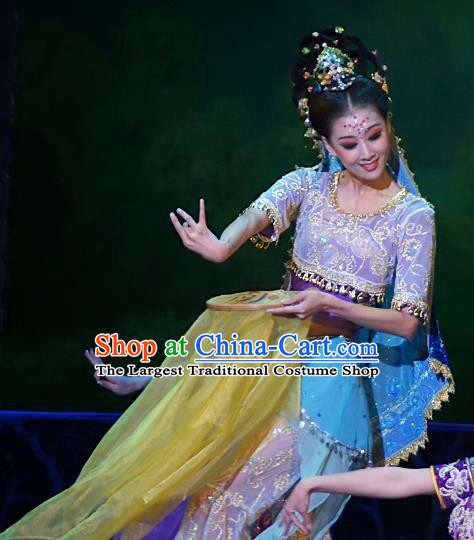 Chinese Traditional Dance Si Lu Hua Yu Purple Dress Classical Dance Flying Apsaras Stage Performance Costume for Women