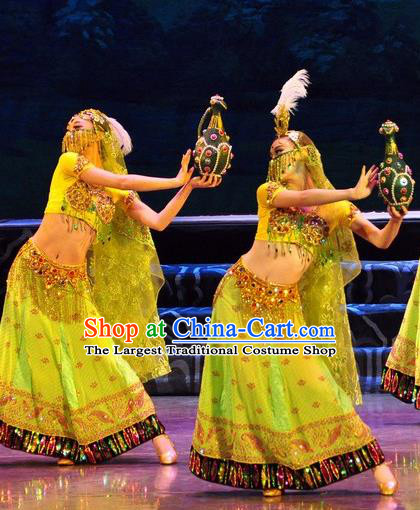 Chinese Traditional Dance Si Lu Hua Yu Green Dress Classical Dance Flying Apsaras Stage Performance Costume for Women