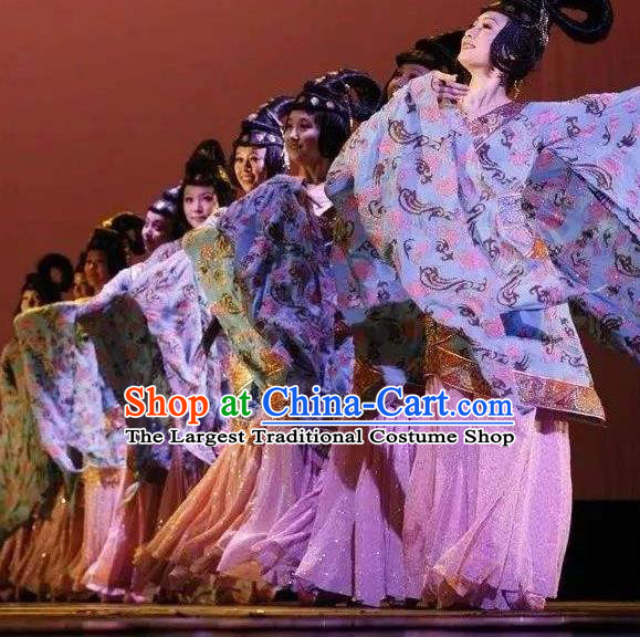 Chinese Yun Wen Clouds Traditional Han Dynasty Dance Dress Classical Dance Stage Performance Costume for Women