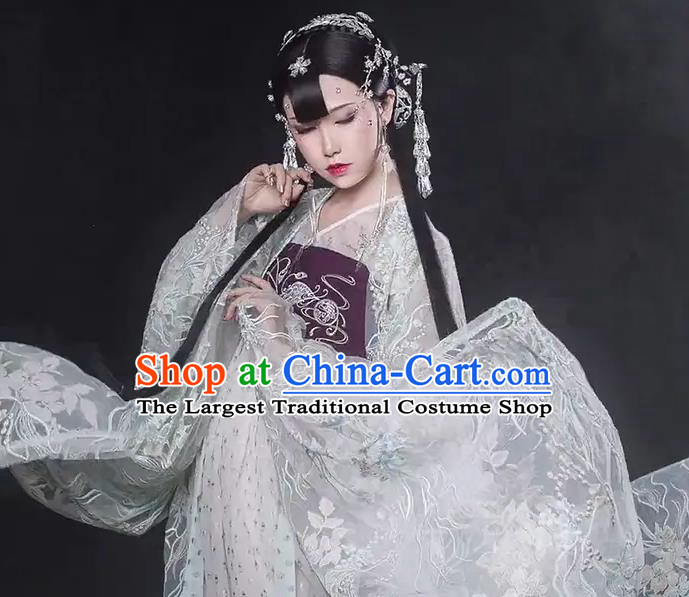 Chinese Dance National Treasure White Hanfu Dress Traditional Classical Dance Stage Performance Costume for Women