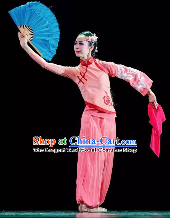 Chinese You Ran Qing Yun Folk Dance Pink Outfits Traditional Fan Dance Stage Performance Costume for Women