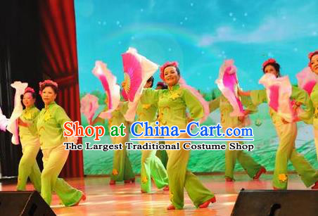 Chinese Flying Kites Fan Dance Green Outfits Traditional Folk Dance Stage Performance Costume for Women