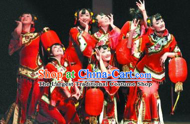 Chinese Red Lantern Folk Dance Outfits Traditional Fan Dance Stage Performance Costume for Women