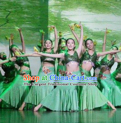Chinese Fragrance of Miangui Flowers Dai Nationality Dance Green Dress Traditional Peacock Dance Stage Performance Costume for Women