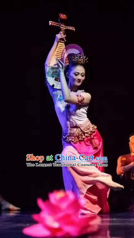 Chinese Yuan Qi Dunhuang Flying Apsaras Dance Pink Dress Traditional Classical Dance Stage Performance Costume for Women