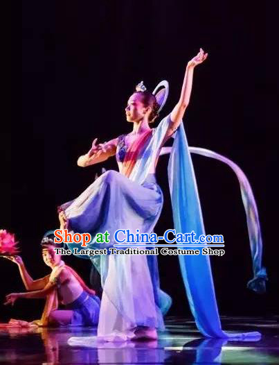 Chinese Yuan Qi Dunhuang Flying Apsaras Dance Blue Dress Traditional Classical Dance Stage Performance Costume for Women