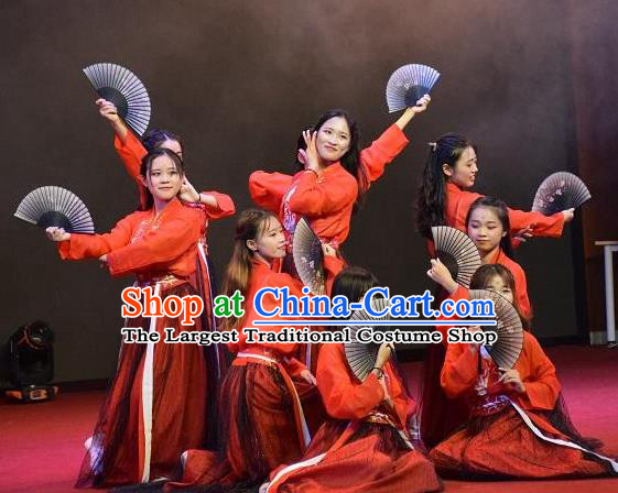 Chinese MangZhong Dance Red Hanfu Dress Traditional Classical Dance Stage Performance Costume for Women