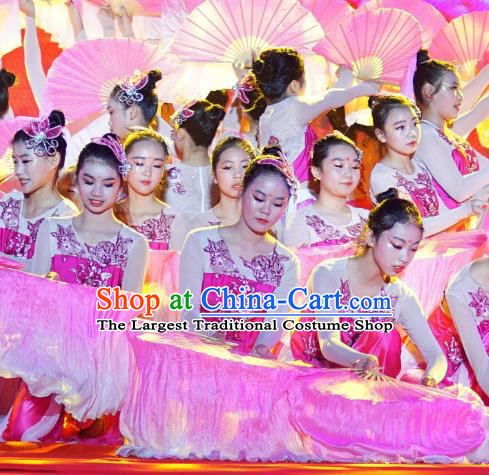 Chinese Blossom Time Fan Dance Rosy Dress Traditional Classical Dance Stage Performance Costume for Women
