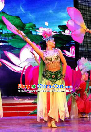 Chinese Lotus Dance Dress Traditional Classical Dance Stage Performance Costume for Women