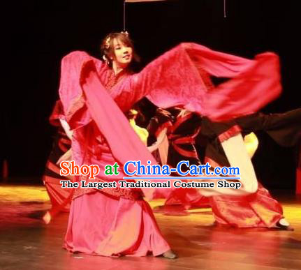Chinese Song by the Yue Girl Han Dynasty Dance Red Dress Traditional Classical Dance Stage Performance Costume for Women