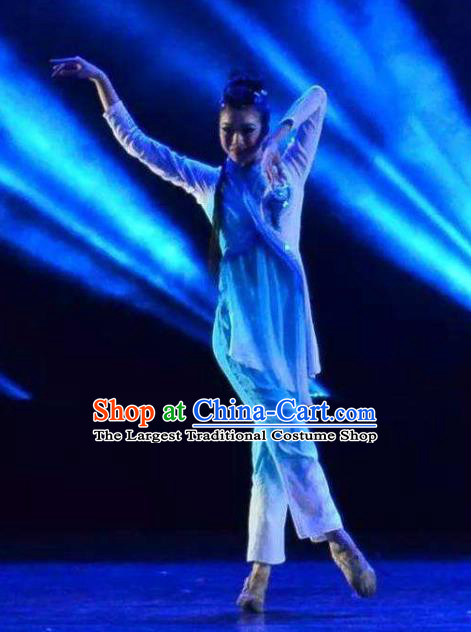 Chinese Shifting Moon Water Shadow Classical Dance Dress Traditional Dance Stage Performance Costume for Women