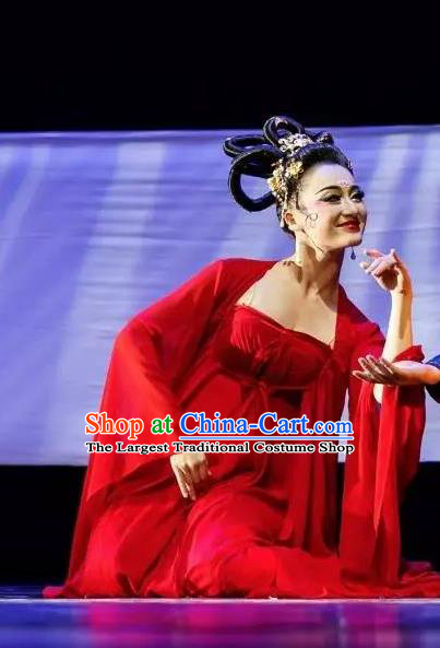 Chinese Chang Hen Tang Dynasty Consort Yang Dance Red Dress Traditional Classical Dance Stage Performance Costume for Women