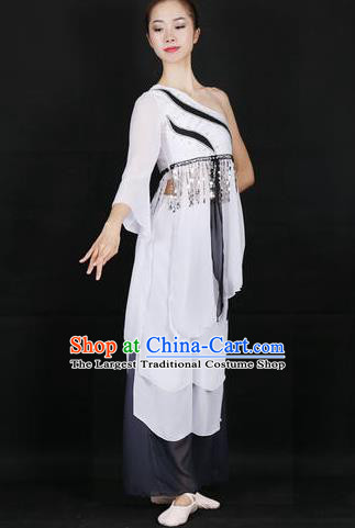 Chinese Feng He Yu Li Folk Dance White Dress Traditional Classical Dance Stage Performance Costume for Women