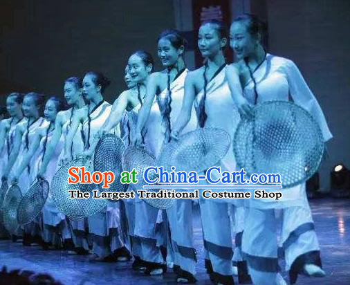Chinese Feng He Yu Li Fan Dance White Dress Traditional Classical Dance Stage Performance Costume for Women