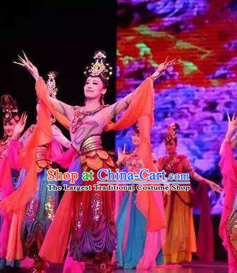 Chinese Flying Apsaras Rainbow Dance Dress Traditional Classical Dance Stage Performance Costume for Women